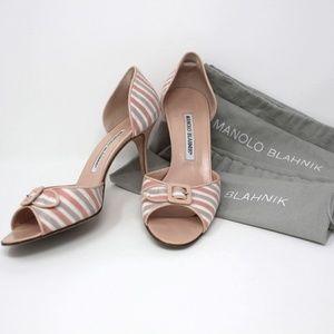 Striped Satin Peep Toe Heels Pastel Buckle D'orsay